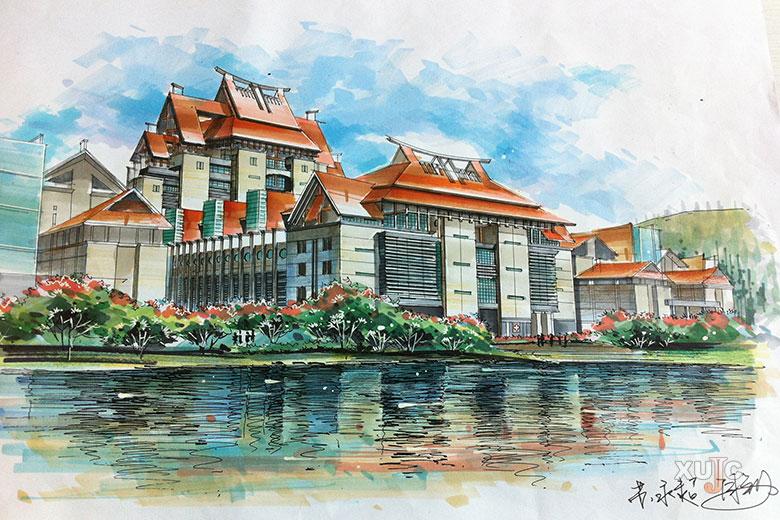 《嘉庚学院建筑群》获得手绘设计大赛一等奖